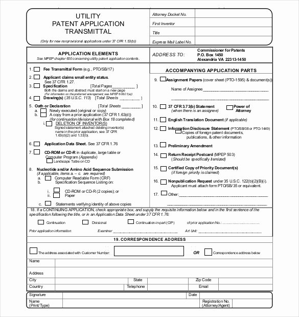 12 Patent Application Templates Free Sample Example