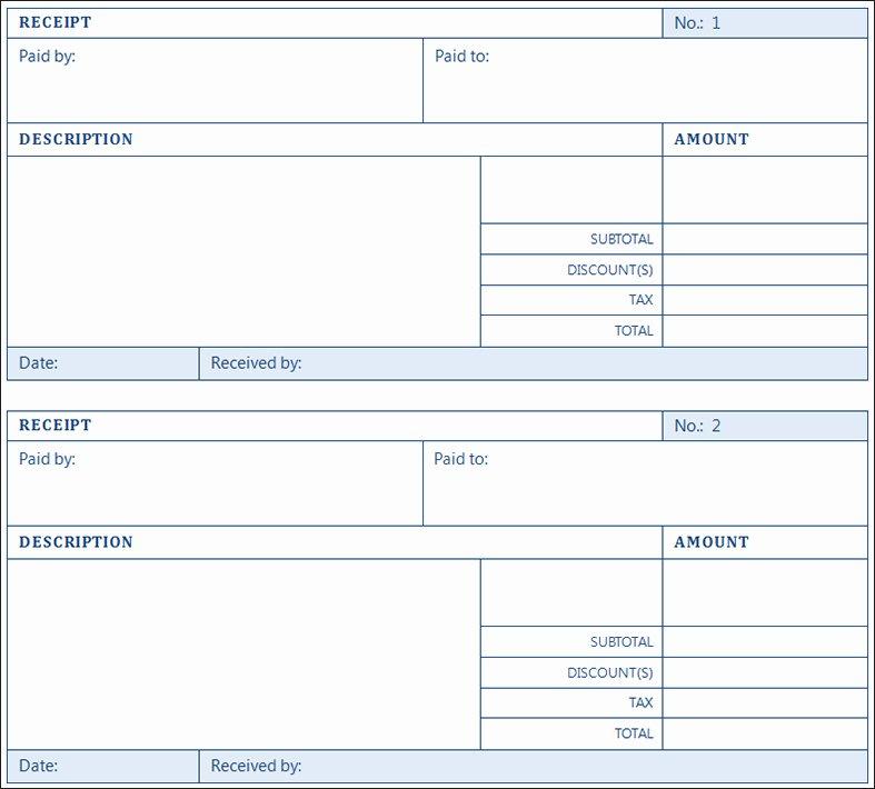 12 Printable Receipt Templates Free Word Excel Pdf formats