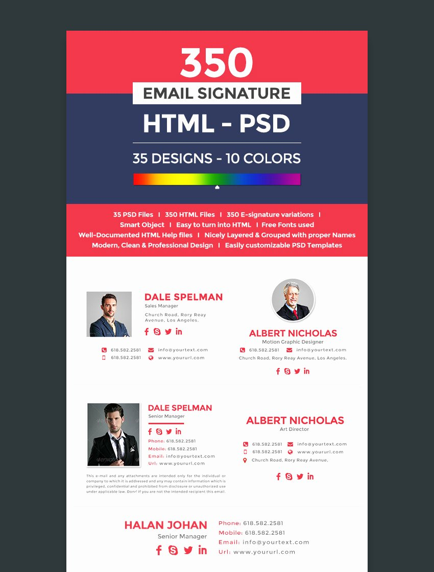 12 Professional HTML Psd Email Signature Templates