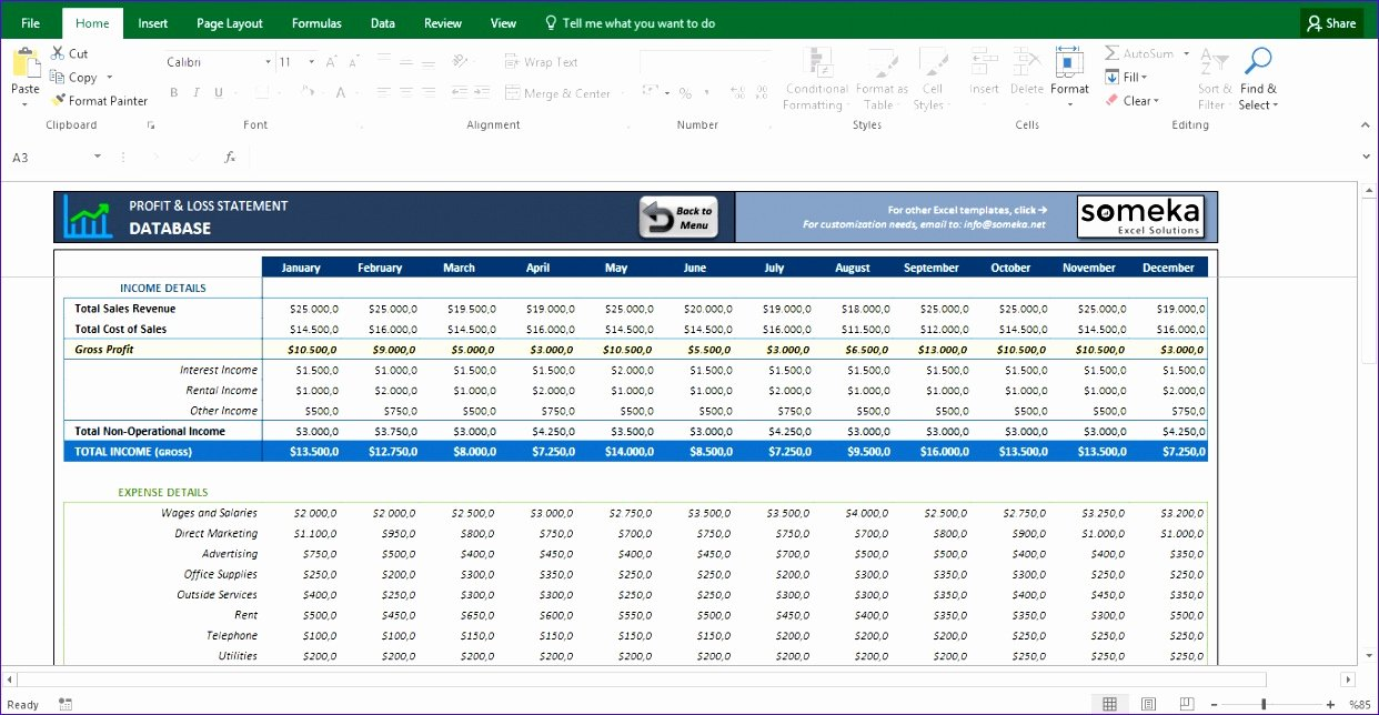 12 Profit & Loss Excel Template Exceltemplates