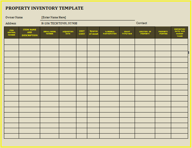 12 Property Inventory Templates