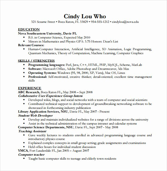 12 Puter Science Resume Templates to Download