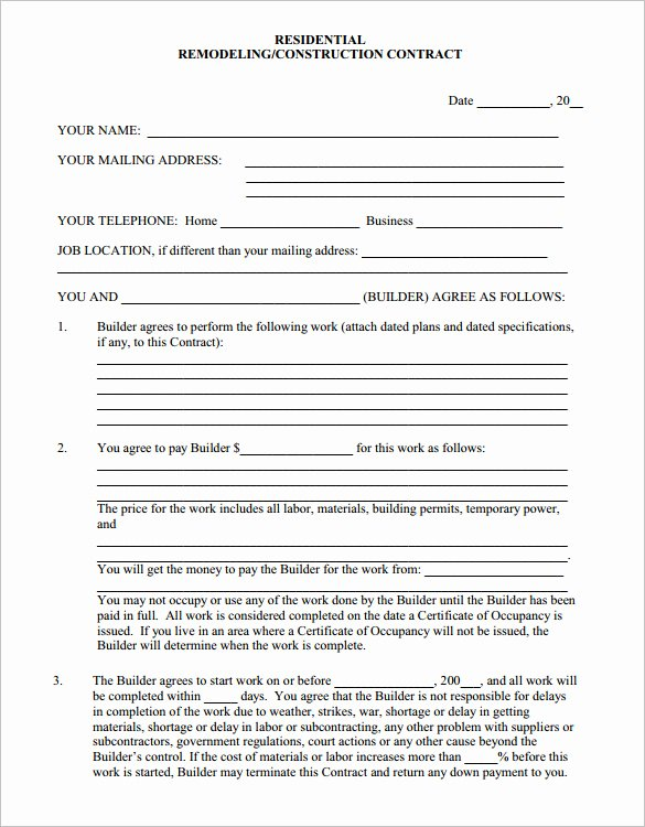 remodeling contract template