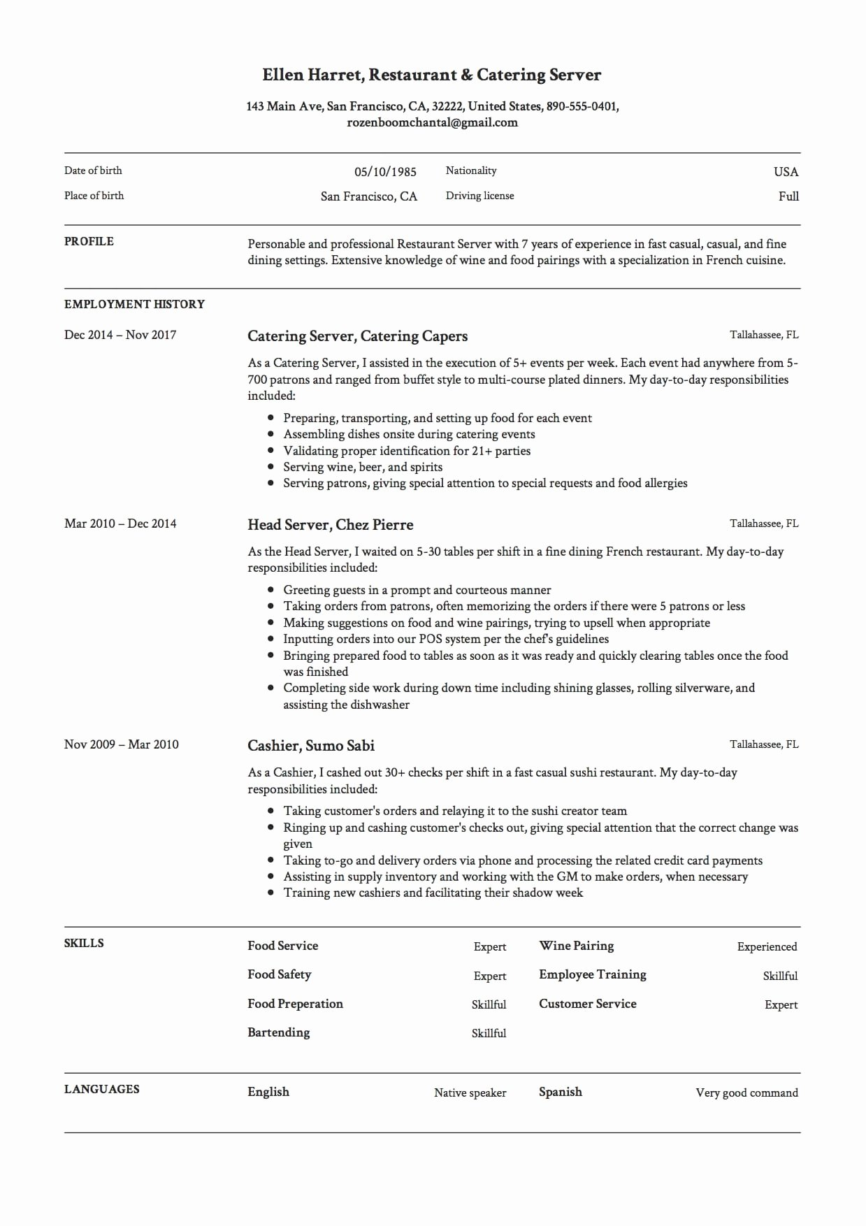 12 Restaurant Server Resume Sample S 2018 Free Downloads