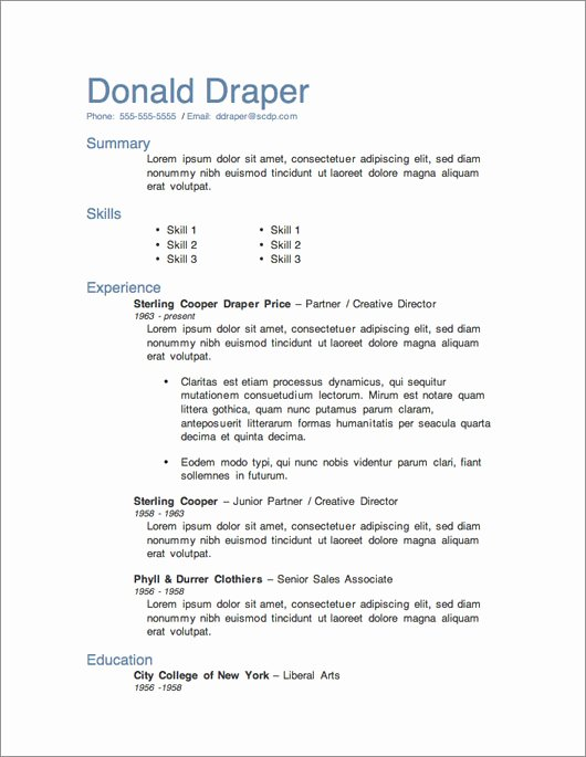 12 Resume Templates for Microsoft Word Free Download