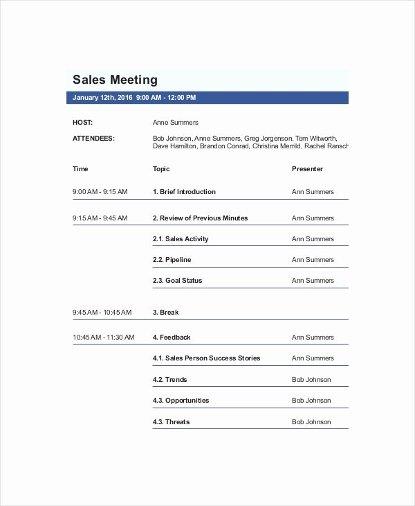 12 Sales Meeting Agenda Templates – Free Sample Example