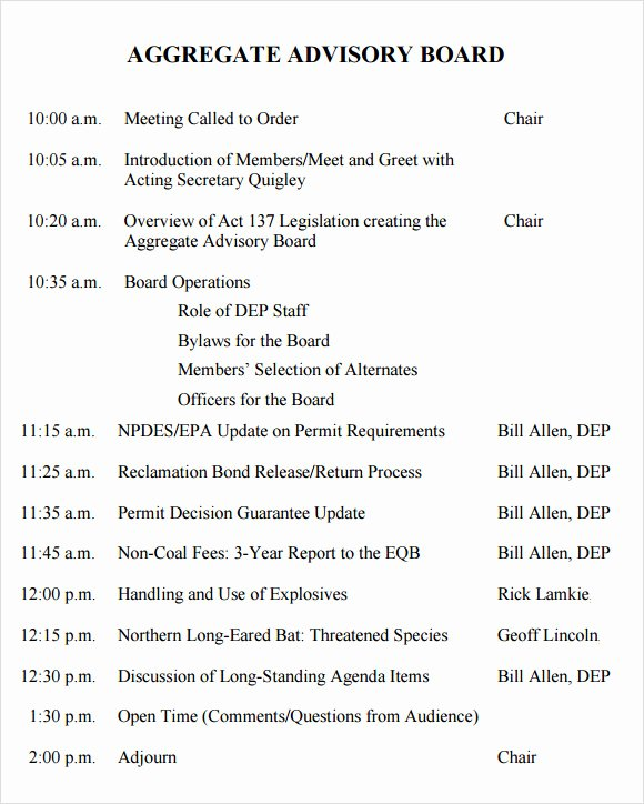 12 Sample Board Meeting Agenda Templates