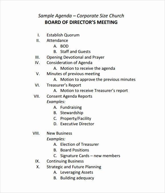 12 Sample Board Meeting Agenda Templates