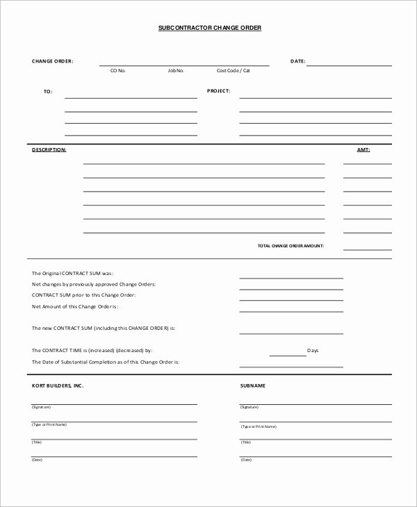12 Sample Change order forms