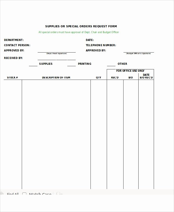 12 Sample Excel Request forms