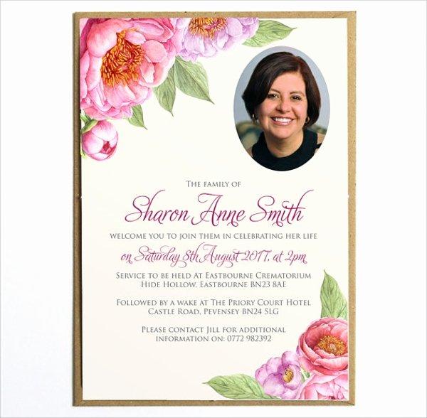 12 Sample Funeral Invitation Templates