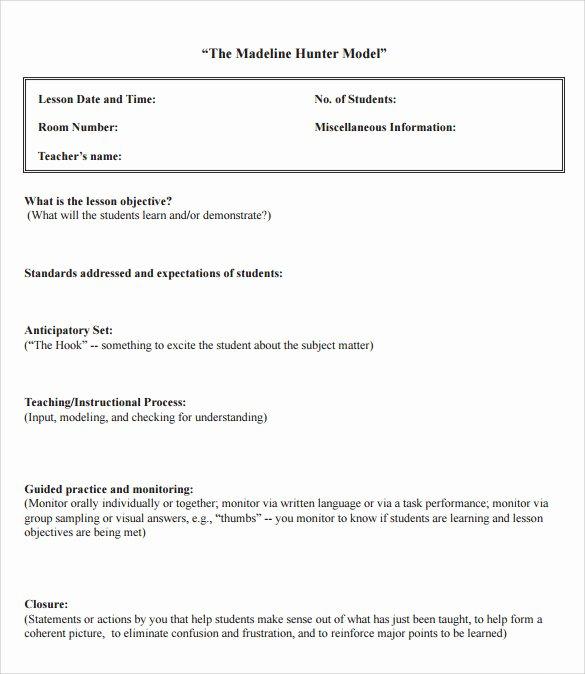 12 Sample Madeline Hunter Lesson Plans