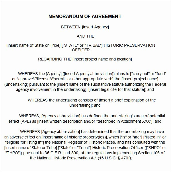 12 Sample Memorandum Of Agreement Templates to Download