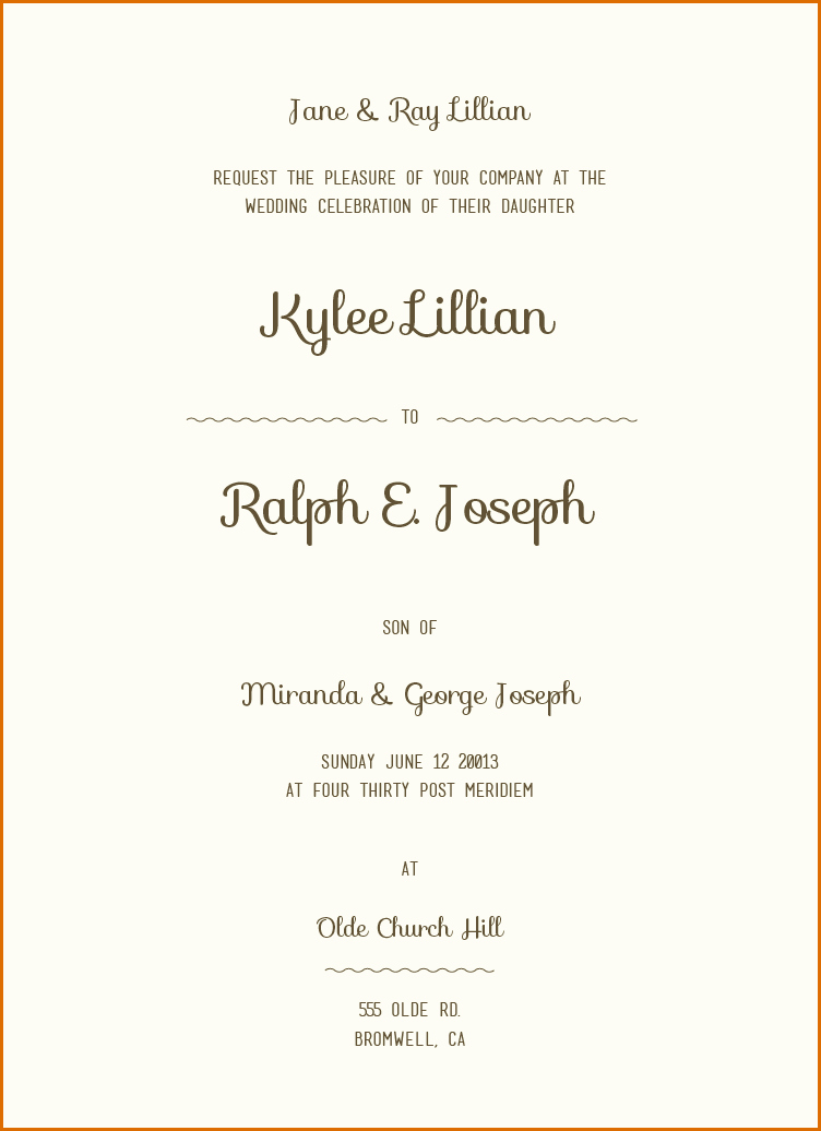 12 Sample Wording for Wedding Invitations
