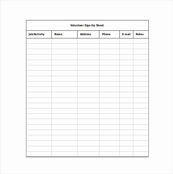 12 Sign Up Sheet Templates Free Excel Word Sample