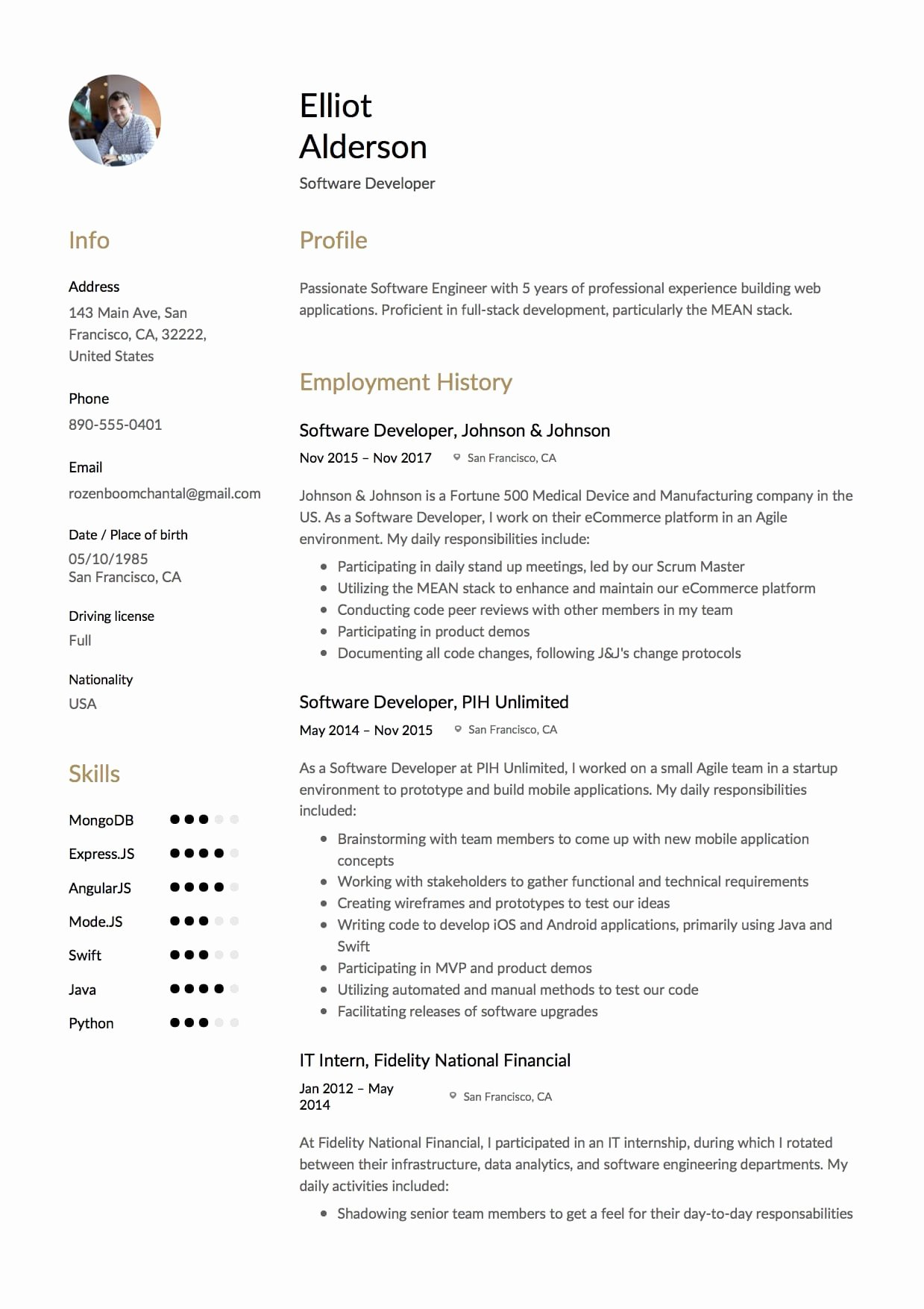 12 software Developer Resume Sample S 2018