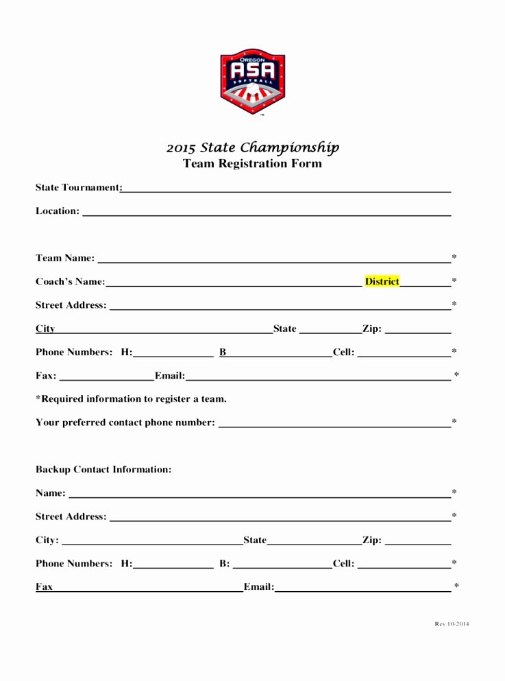 12 Sports Team Registration form Template Eoiuy