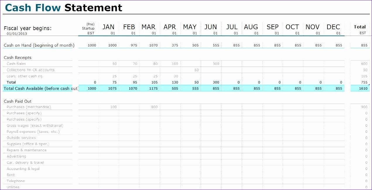12 Statement Cash Flows Template Excel Exceltemplates
