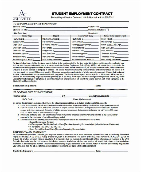 12 Student Contract Templates Free Sample Example