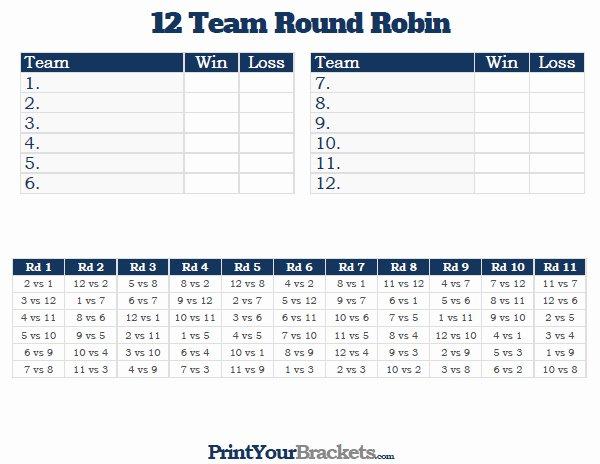 12 Team Round Robin Printable tournament Bracket