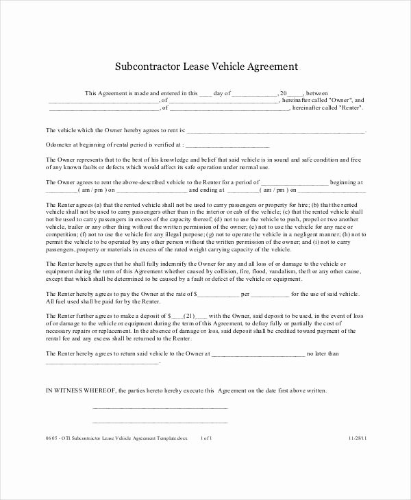 12 Vehicle Lease Agreement Templates Docs Word