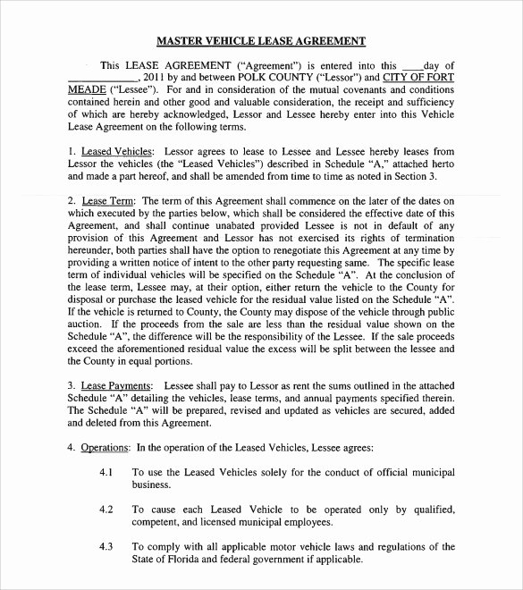 12 Vehicle Lease Agreement Templates – Samples Examples