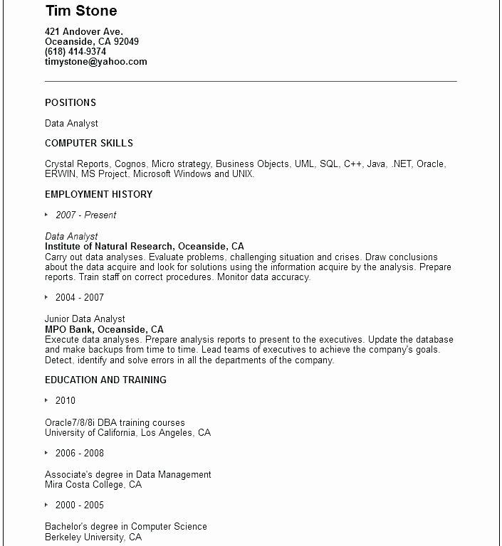 13 14 Data Analyst Responsibilities Resume