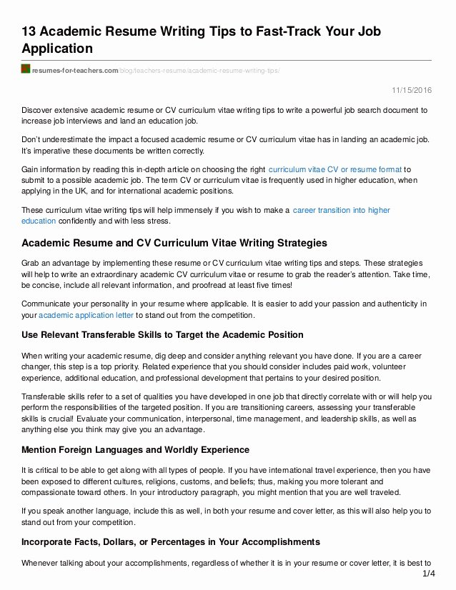 13 Academic Resume Writing Tips to Fast Track Your Job