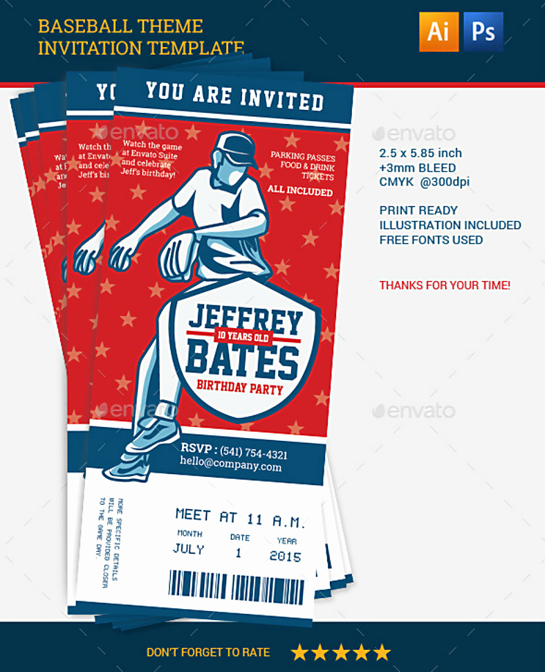 13 Baseball Party Invitation Designs & Templates Psd