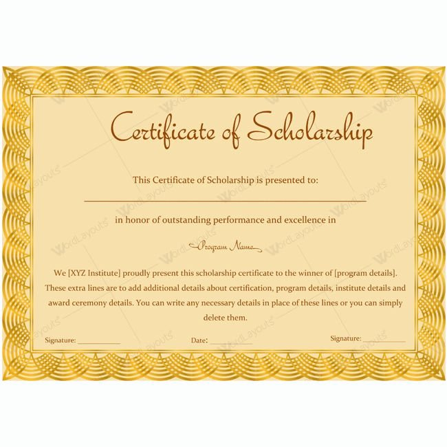 13 Best Certificate Of Scholarship Templates Images On