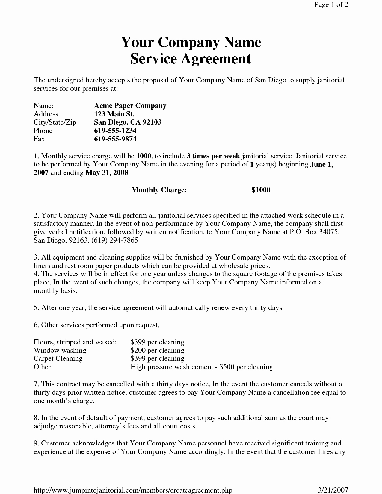 13 Best Of Cleaning Service Agreement Sample