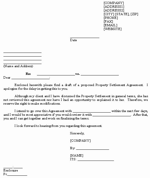 13 Best Of Property Settlement Agreement Letter