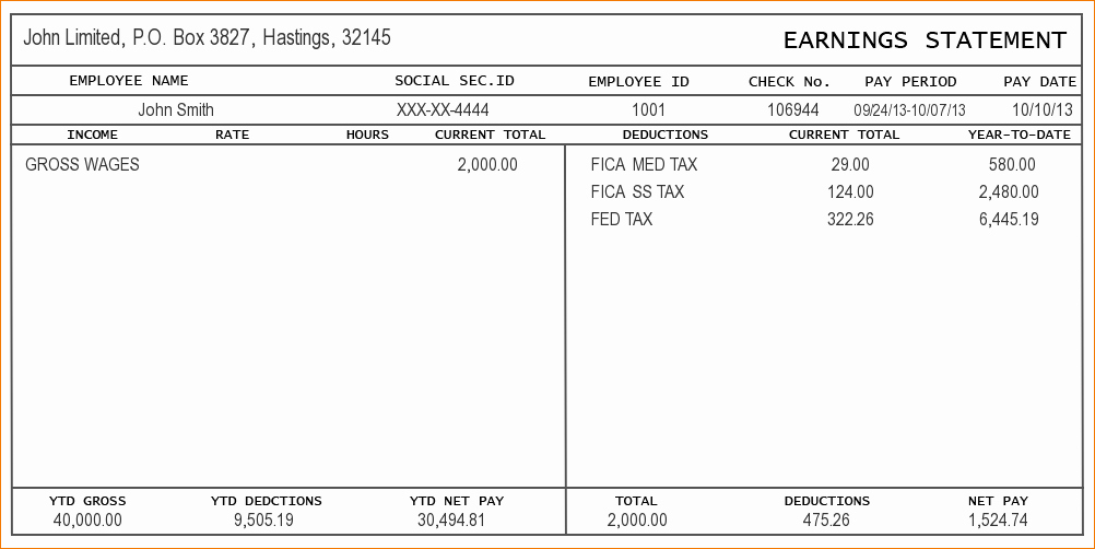 13 Blank Pay Stub Templateagenda Template Sample