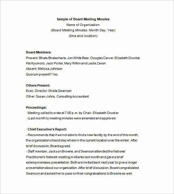 13 Board Meeting Minutes Templates Doc Pdf