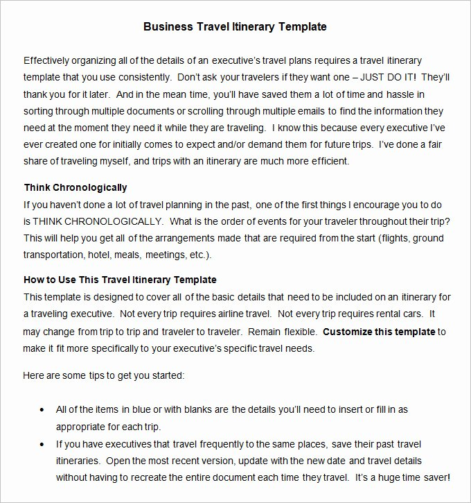 13 Business Travel Itinerary Template Word Excle Pdf