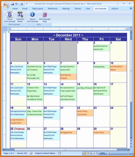 13 Calendar Template Microsoft Word