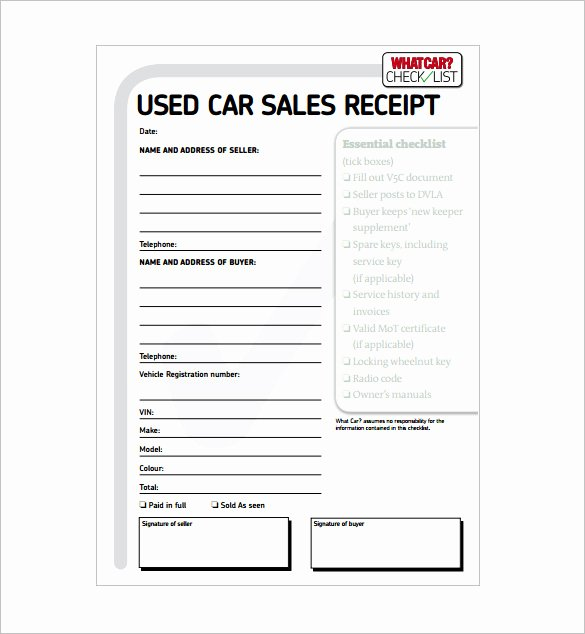 13 Car Sale Receipt Templates Doc Pdf