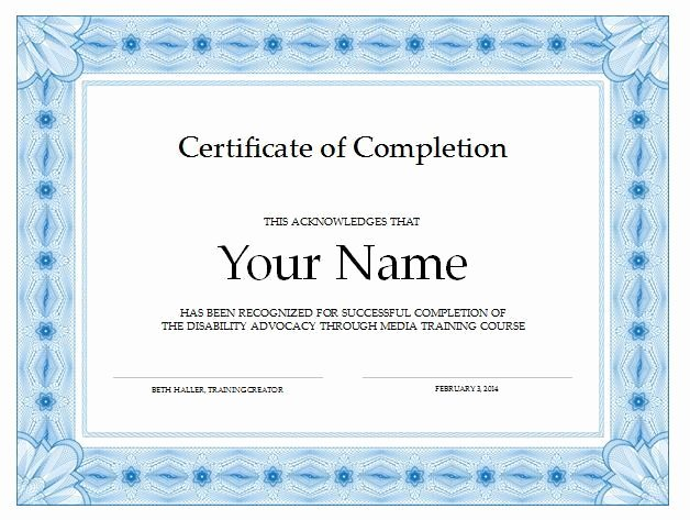 certificate of pletion sample