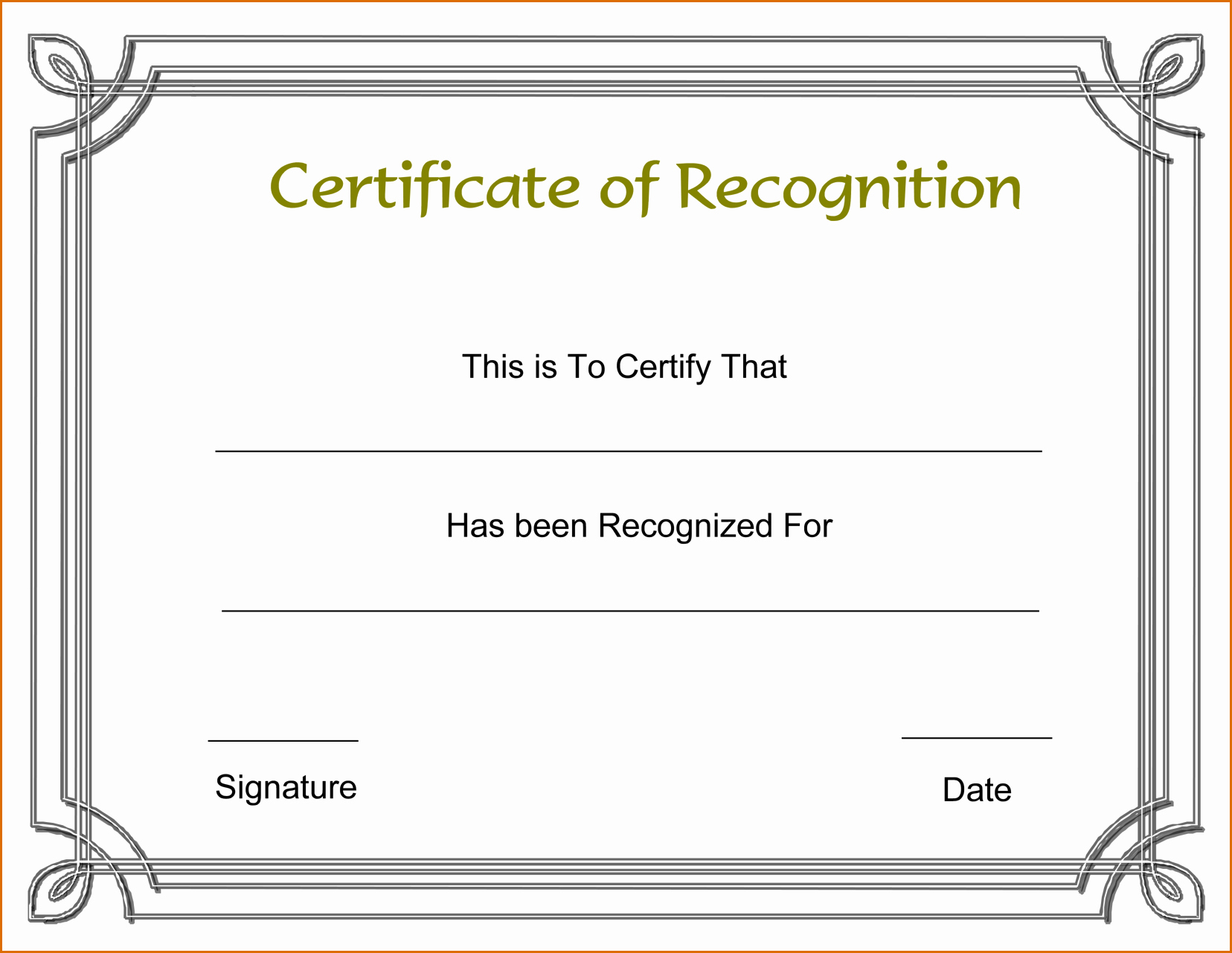 13 Certificate Of Recognition Template