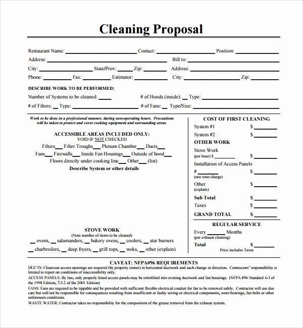 13 Cleaning Proposal Templates – Pdf Word Apple Pages
