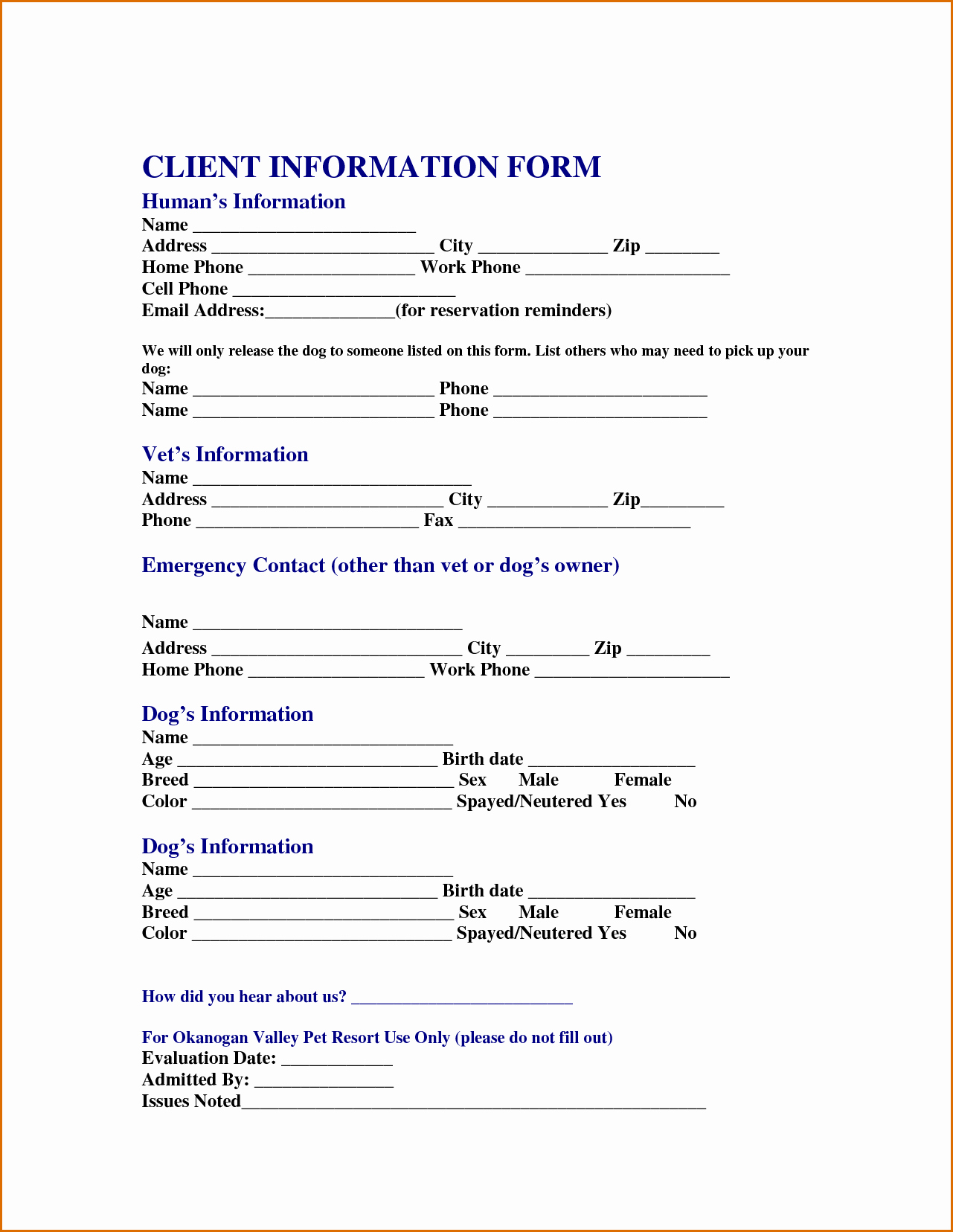 13 Customer Information form Template