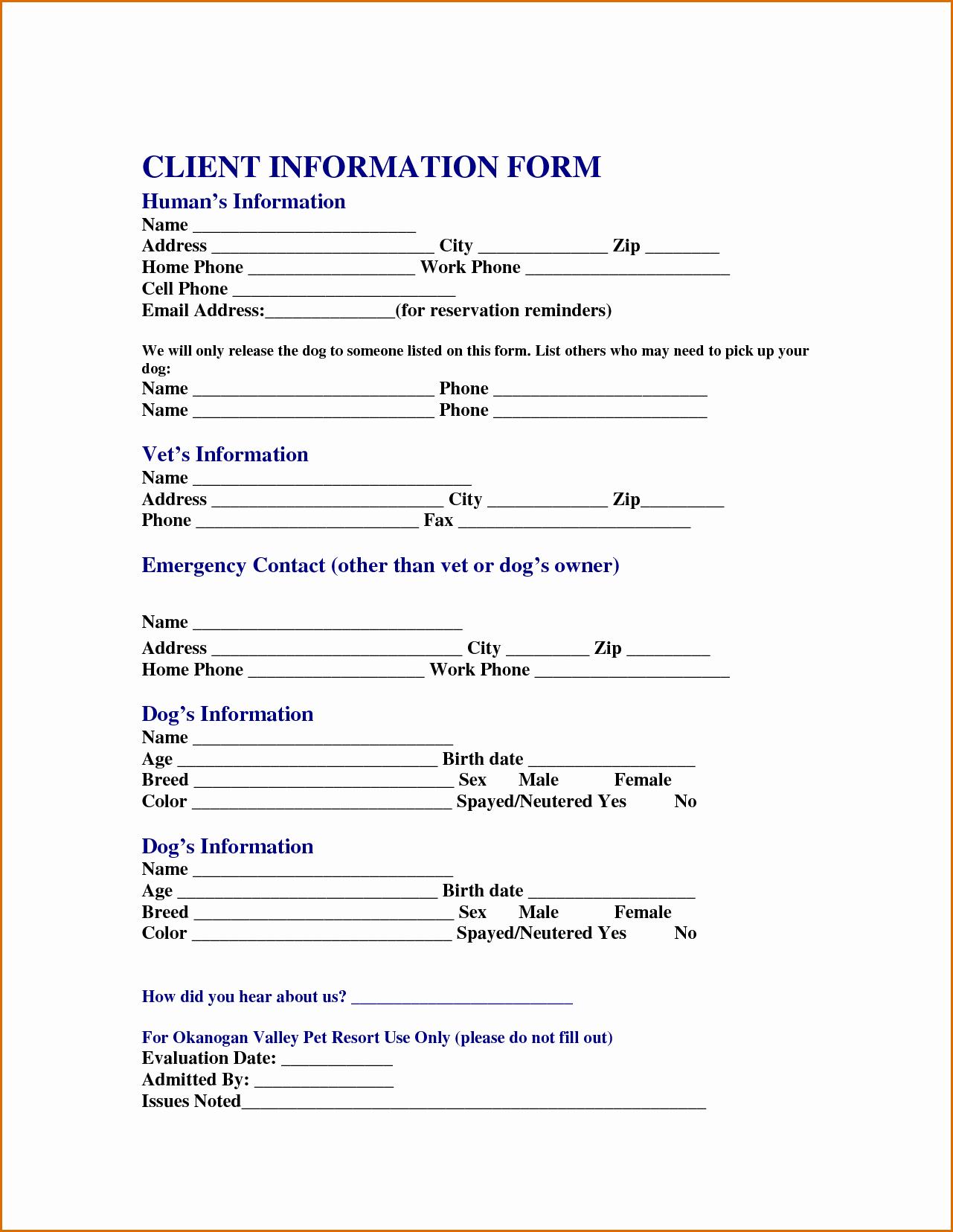 13 Customer Information form Template