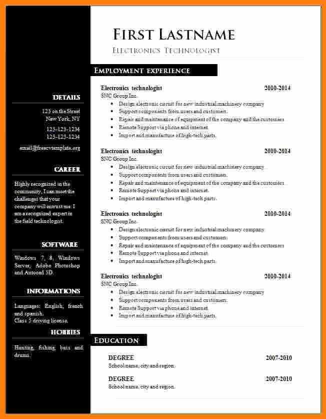 13 Cv Resume Template Microsoft Word