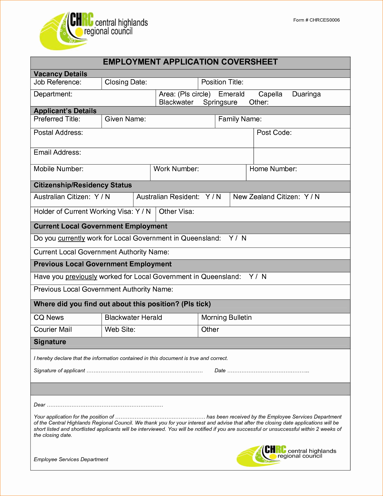 13 Employment Application Template Wordagenda Template