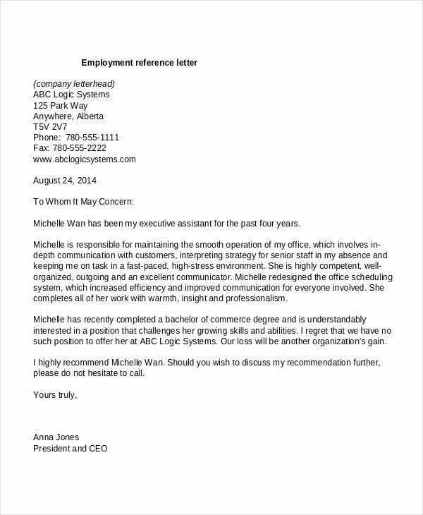 13 Employment Reference Letter Templates Free Sample