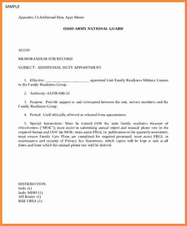 13 Example Army Memorandum