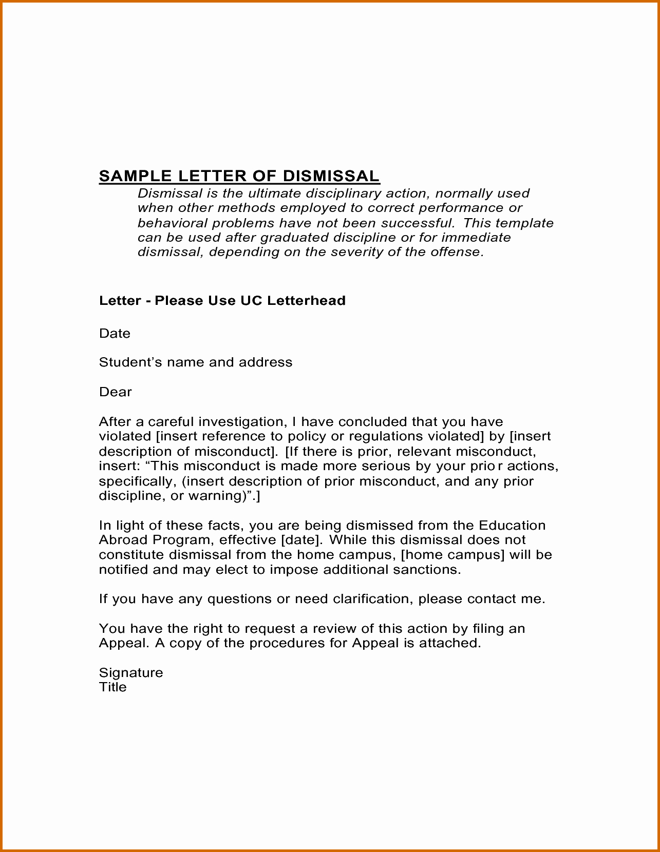 13 Examples Of Appeal Letters for Dismissal