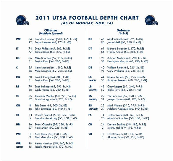 13 Football Depth Chart Template Free Sample Example