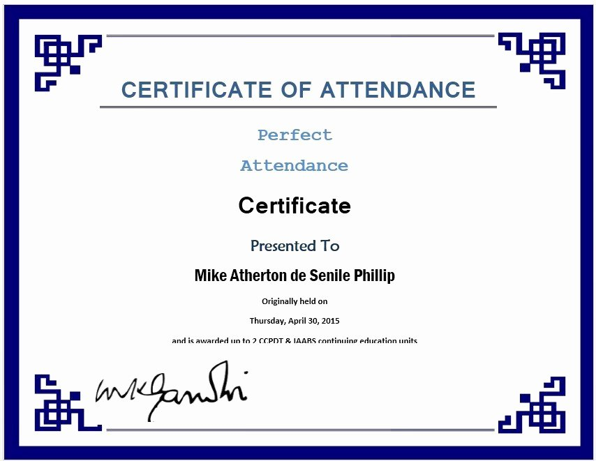 13 Free Sample Perfect attendance Certificate Templates