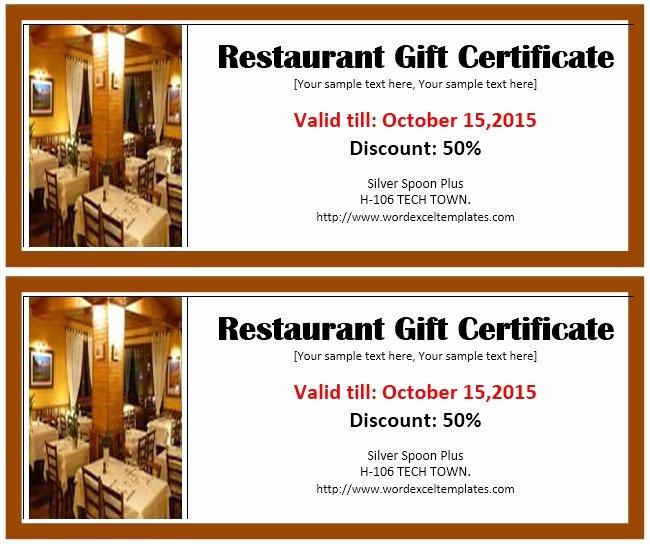 13 Free Sample Restaurant Voucher Templates Printable